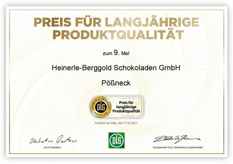 """Urkunde """"Preis für langjährige Produktqualität 2021"""""""